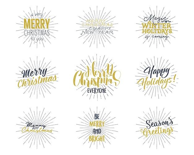 Satz weihnachten, neujahrsbeschriftung, wünsche, sprüche und vintage-etiketten. Premium Vektoren