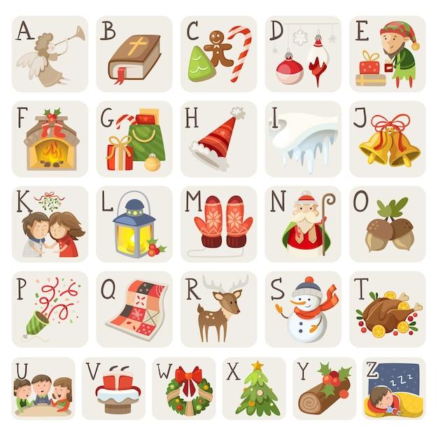 Satz weihnachtsartikel zeichen und situationen im alphabet Premium Vektoren