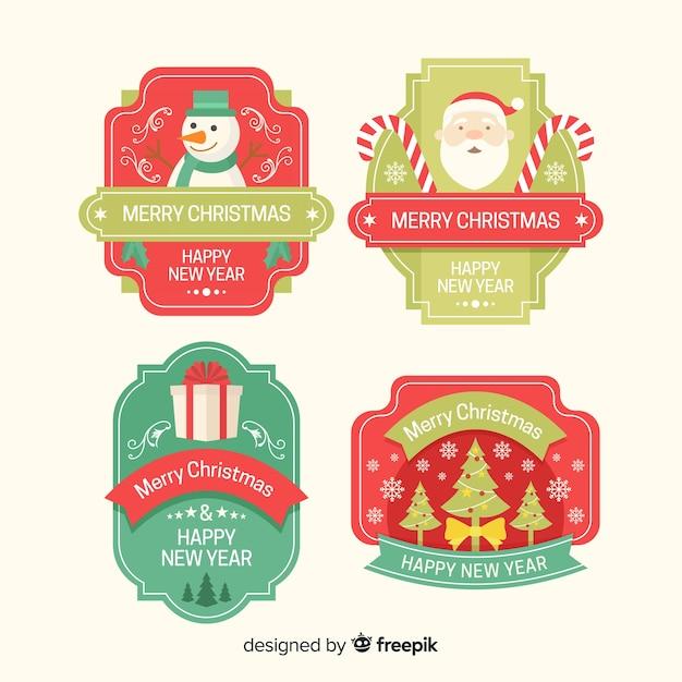Satz weihnachtsausweise im flachen design Kostenlosen Vektoren