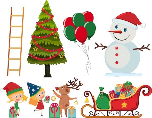 Satz weihnachtselemente auf weiß Premium Vektoren