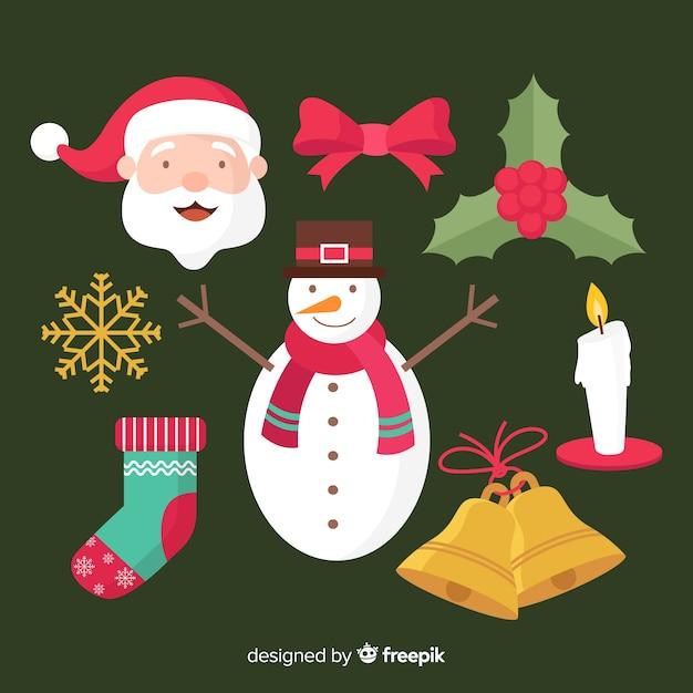 Satz weihnachtselemente im flachen design Kostenlosen Vektoren