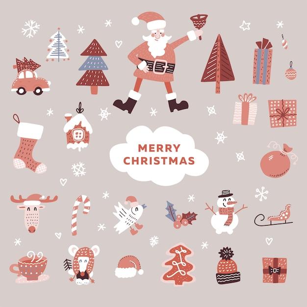 Satz weihnachtselemente: sankt-charakter, weihnachtsbäume, schneemann Premium Vektoren