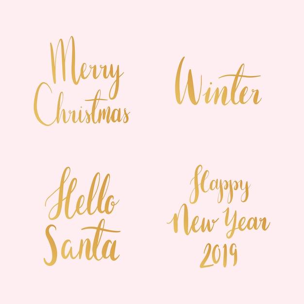 Satz weihnachtsfeiertypographievektoren Kostenlosen Vektoren