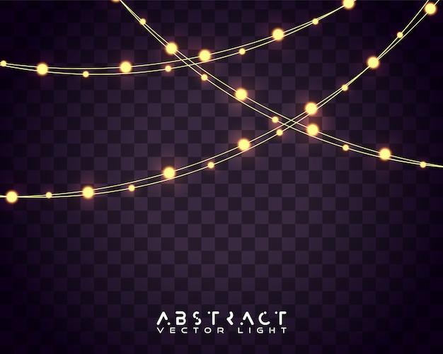 Satz weihnachtsglühende lichter für feiertagskarten, fahnen Premium Vektoren