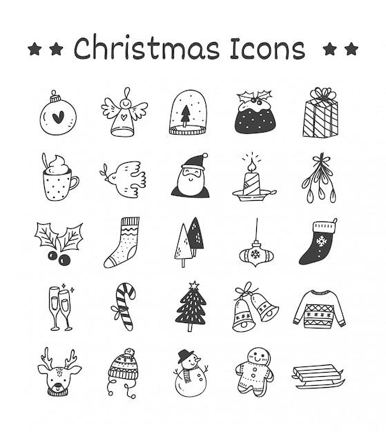 Satz weihnachtsikonen in der gekritzel-art Premium Vektoren
