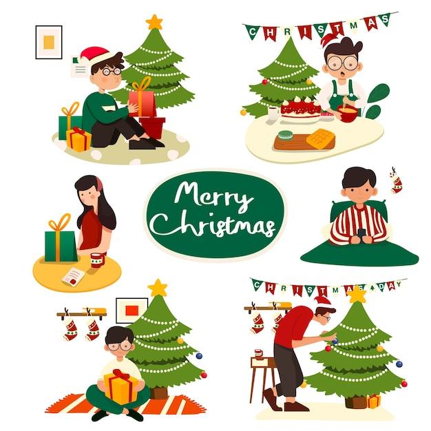 Satz weihnachtsillustrationen. leute, die weihnachten feiern Premium Vektoren