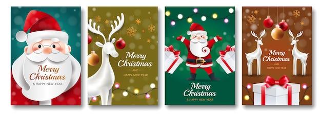 Satz weihnachtskarten mit weihnachtsmann, hirsch, geschenken und spielzeugen. vier gruß helle vertikale karten. Premium Vektoren
