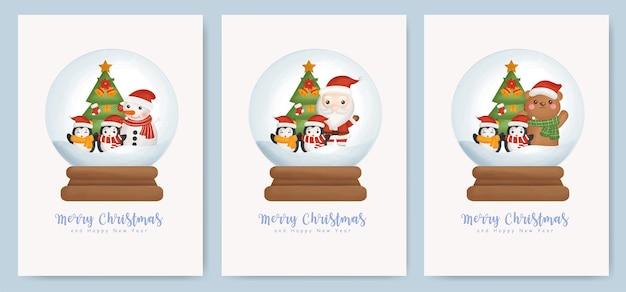 Satz weihnachtskarten und neujahrsgrußkarten mit niedlichem weihnachtsmann und weihnachtselementen auf einer schneeballkugel. Premium Vektoren