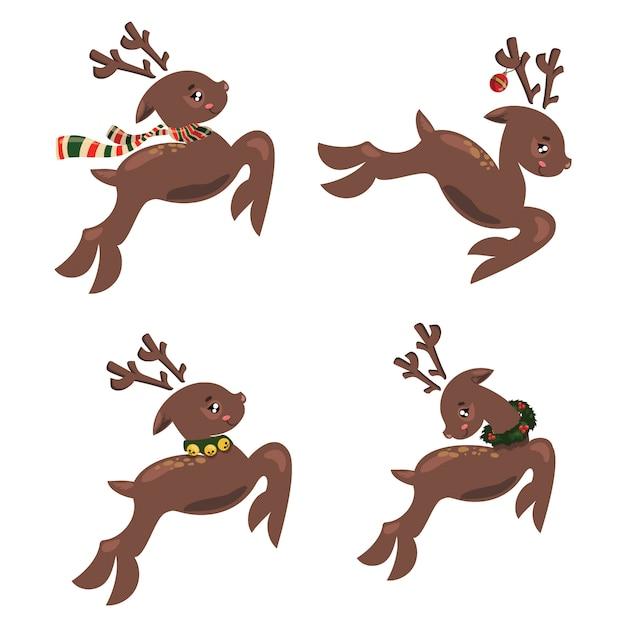 Satz weihnachtslaufhirsch. sammlung von cartoon deer santa. stilisierte tiere. Premium Vektoren