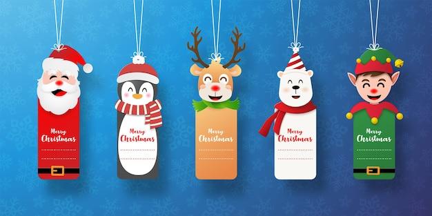 Satz weihnachtsmarke mit weihnachtsmann und freunden Premium Vektoren