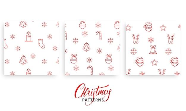 Satz weihnachtsmuster für geschenkpackpapier Premium Vektoren