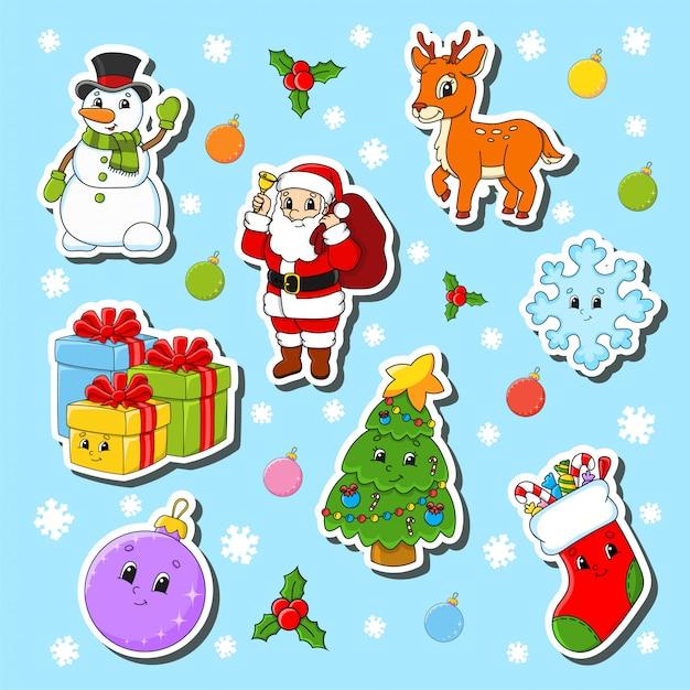 Satz weihnachtsnette zeichentrickfilm-figuren. schneemann, hirsch, weihnachtsmann, schneeflocke, geschenke, weihnachtsbaum, socke, weihnachtskugel. Premium Vektoren