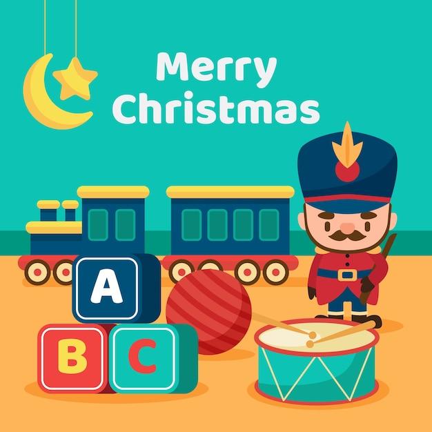 Satz weihnachtsspielwaren im flachen design Kostenlosen Vektoren
