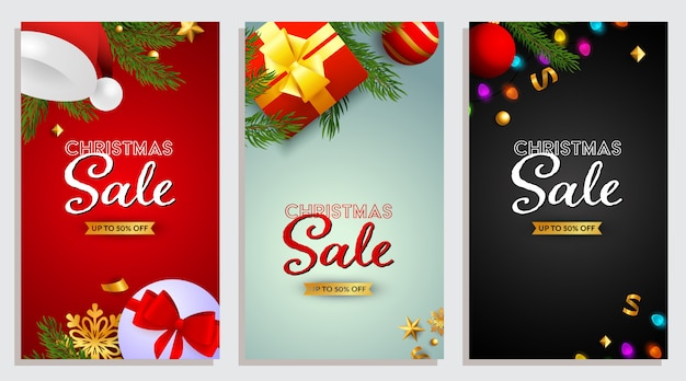 Satz weihnachtsverkaufsdesign mit geschenken und konfettis Kostenlosen Vektoren
