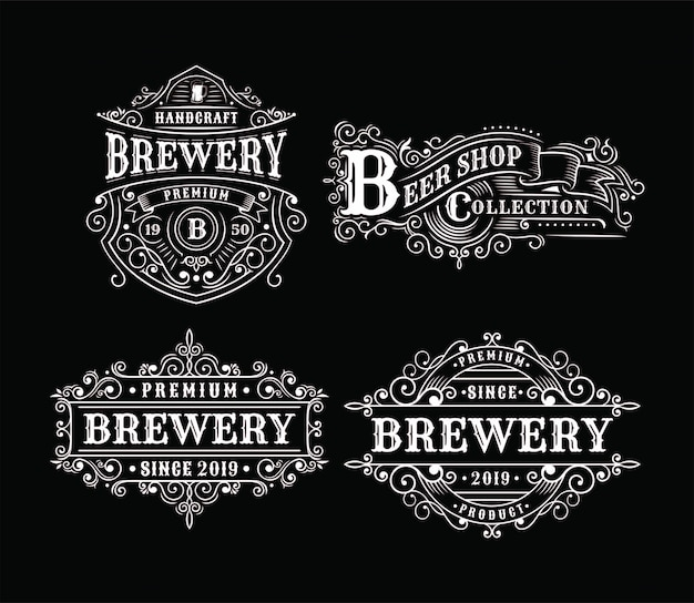 Satz weinlesebrauereiaufkleberdesign, kalligraphie und typografieelemente redete design an Premium Vektoren