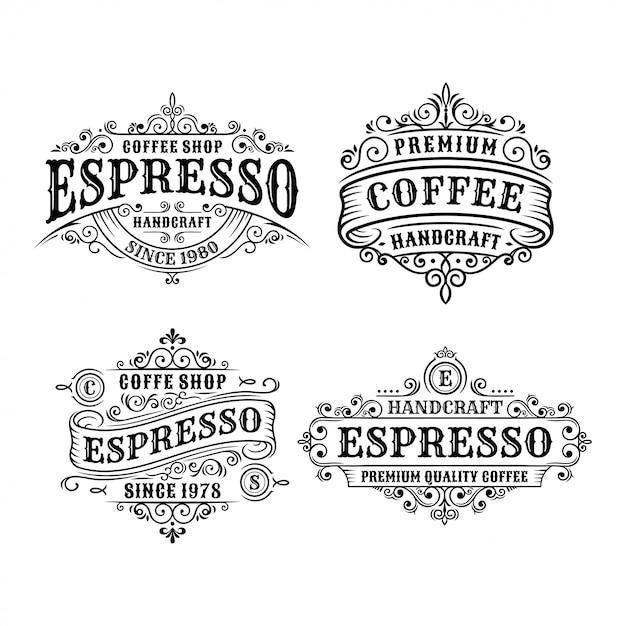 Satz weinlesekaffee-etikettendesign-, -kalligraphie- und -typographieelemente stalteten design an Premium Vektoren