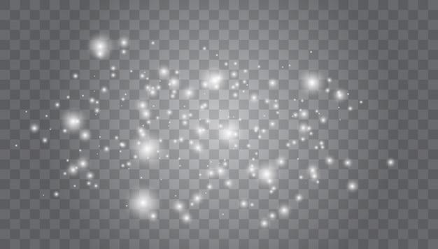 Satz weiße glühende lichteffekte lokalisiert auf transparentem. glow lichteffekt. vektor-illustration weihnachtsblitz. staub. Premium Vektoren