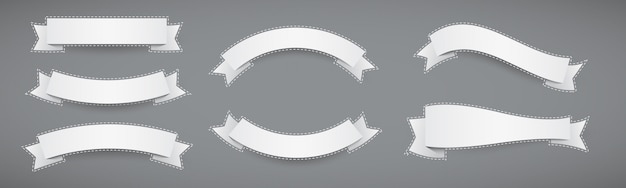 Satz weiße papierbanner flache bänder mit gestrichelter kontur Premium Vektoren