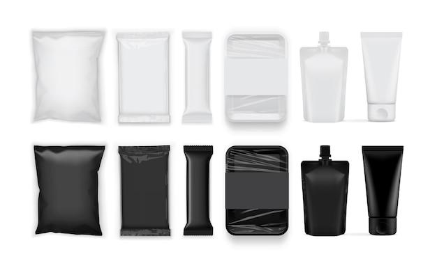 Satz weiße und schwarze papier- und plastikverpackung lokalisiert auf weißem hintergrund Premium Vektoren