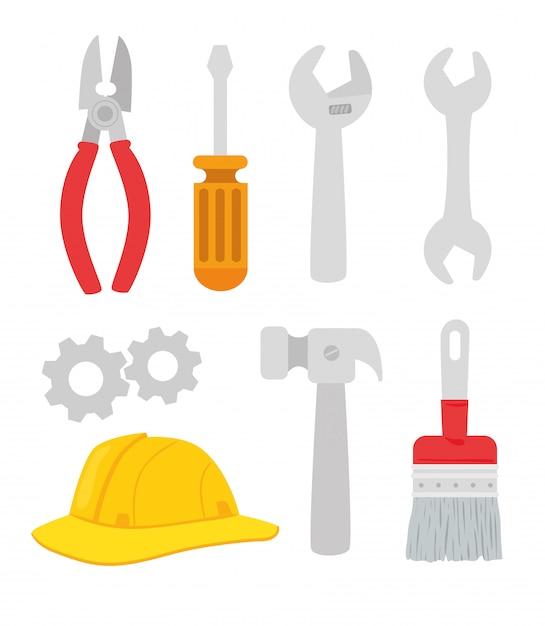 Satz werkzeuge bauausrüstungen Premium Vektoren