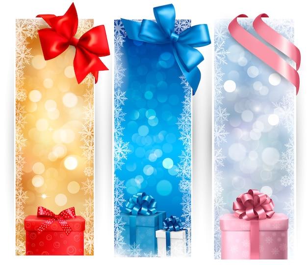 Satz winterweihnachtsfahnenillustration Premium Vektoren