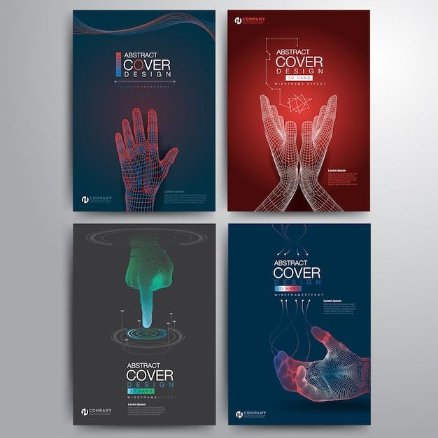 Satz wireframe der hand 3d, digitales konzept Premium Vektoren