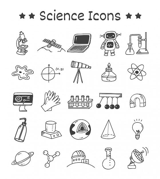Satz wissenschafts-ikonen in der gekritzel-art Premium Vektoren