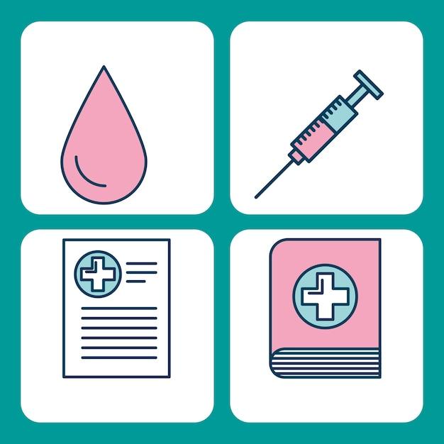 Satz wissenschaftsthemaikonen der medizinischen medizin Premium Vektoren