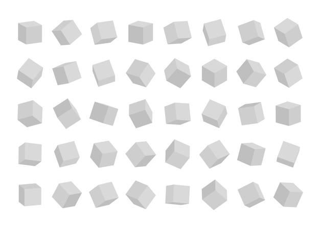Satz würfel in verschiedenen winkeln ansicht lokalisiert auf weißem hintergrund. Premium Vektoren