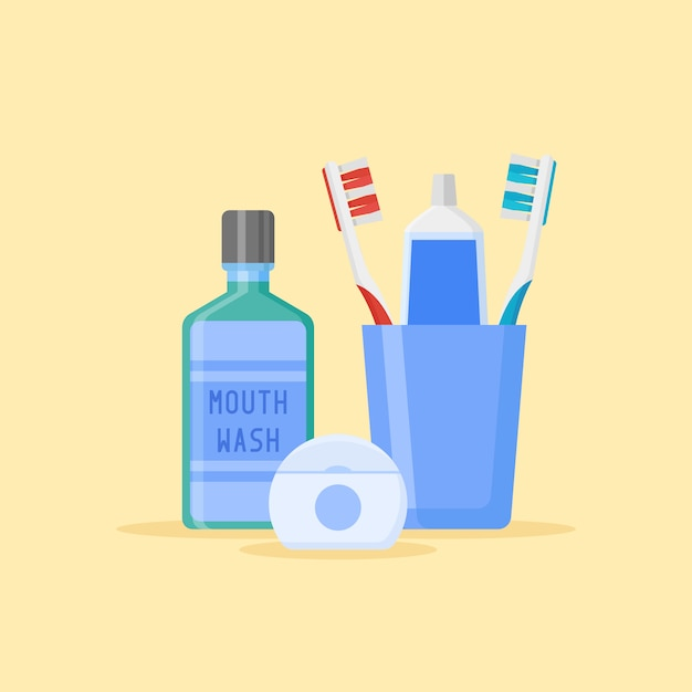 Satz zahnreinigungswerkzeuge. zahnbürsten und zahnpasta in glas, mundwasser, zahnseide lokalisiert auf gelbem hintergrund. flacher stil Premium Vektoren