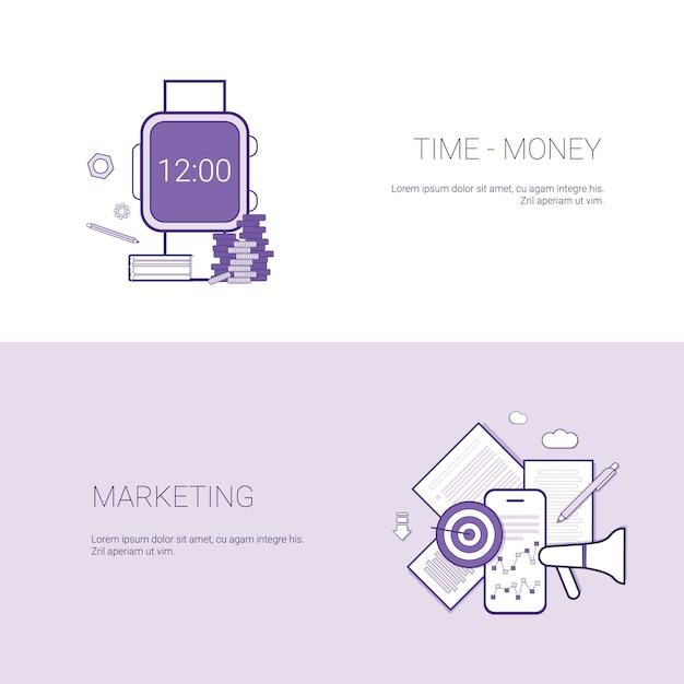 Satz zeit ist geld und marketing-fahnen-geschäfts-konzept-schablonen-hintergrund mit kopien-raum Premium Vektoren