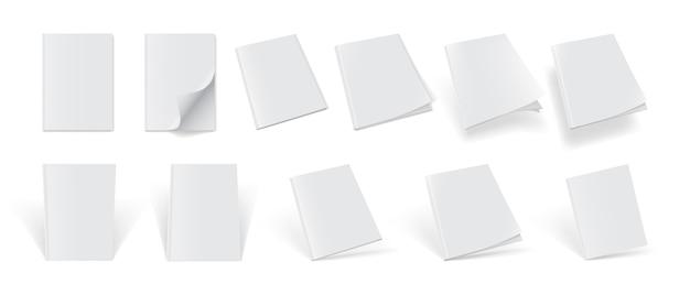 Satz zeitschriftenabdeckungen von verschiedenen seiten auf einem weißen hintergrund Premium Vektoren