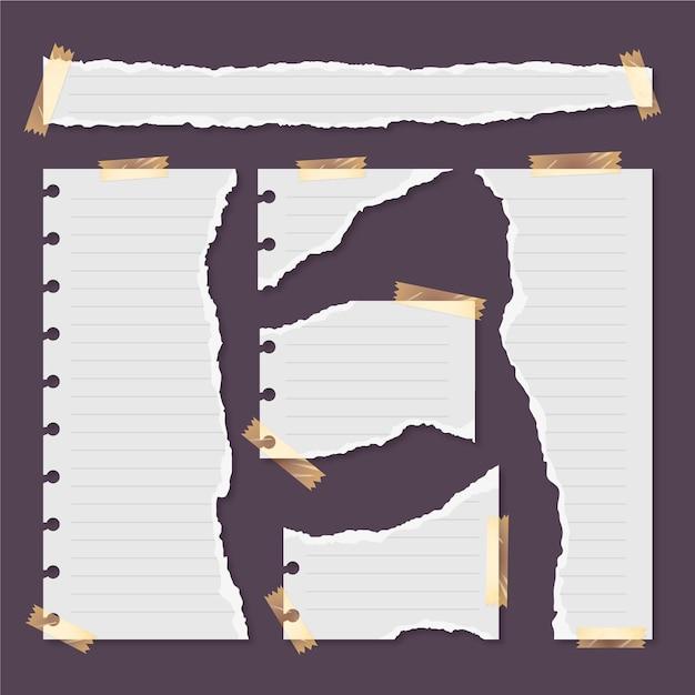 Satz zerrissene papiere mit klebeband Kostenlosen Vektoren
