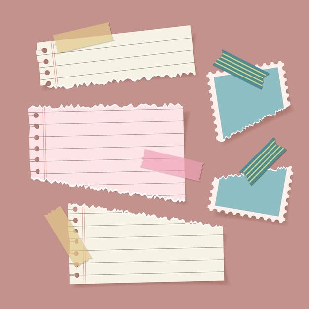 Satz zerrissenes papier mit klebeband Premium Vektoren