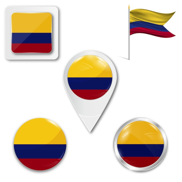 Satz zielflaggeikonen für das laufen von kolumbien Premium Vektoren