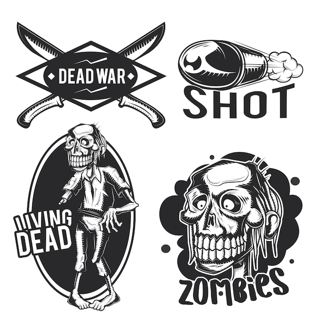 Satz zombie-embleme, etiketten, abzeichen, logos. Kostenlosen Vektoren