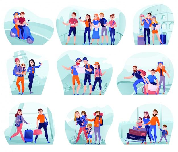 Satz zusammensetzungen mit reisenden in der verschiedenen tätigkeit mit dem gepäck und touristischer ausrüstung lokalisiert Kostenlosen Vektoren
