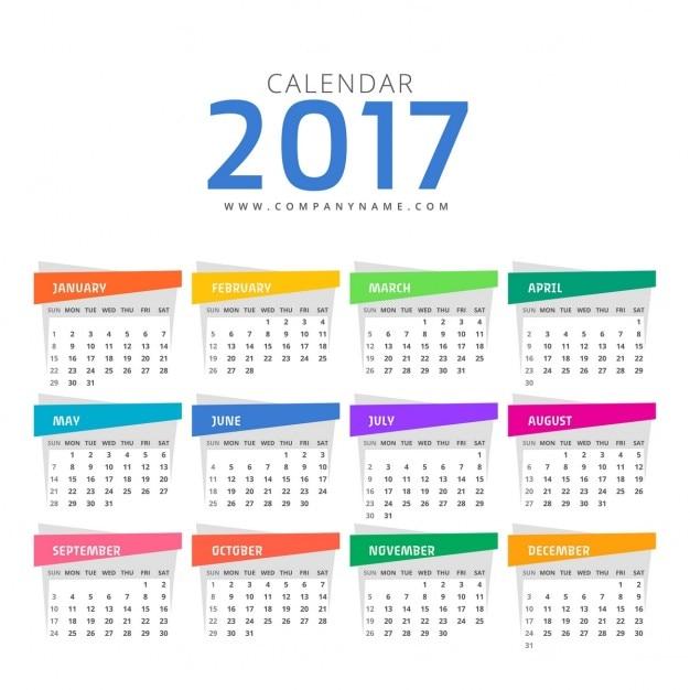 Sauber 2017 kalender-design-vorlage Kostenlosen Vektoren