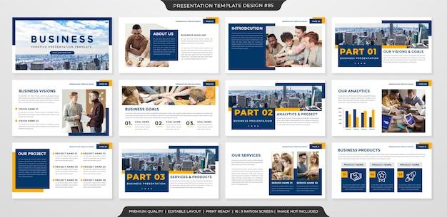 Saubere business-präsentationsvorlage premium-stil Premium Vektoren