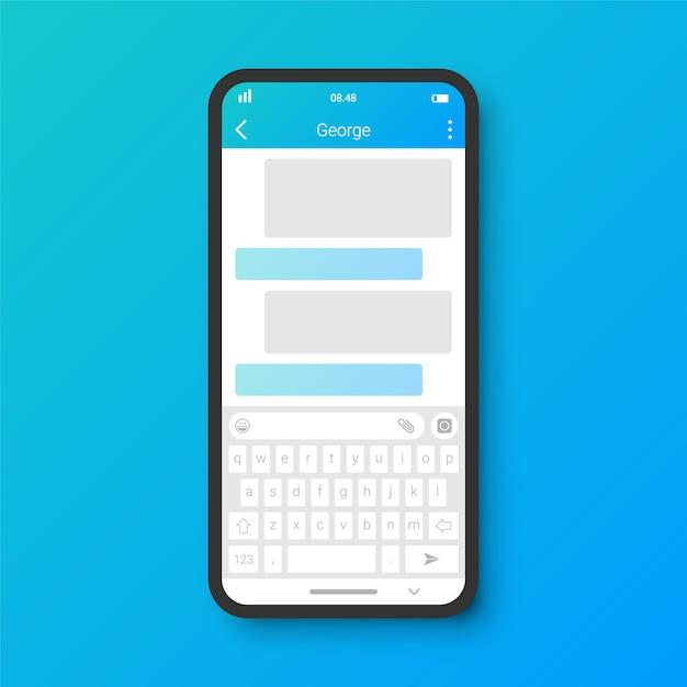 Saubere chat-benutzeroberfläche Premium Vektoren