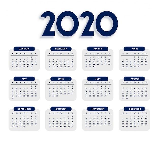 Saubere elegante schablone des kalenders 2020 Kostenlosen Vektoren