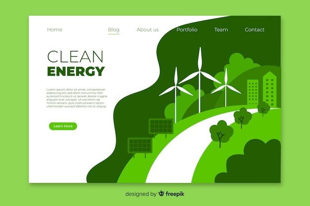 Saubere energie landingpage-vorlage Kostenlosen Vektoren