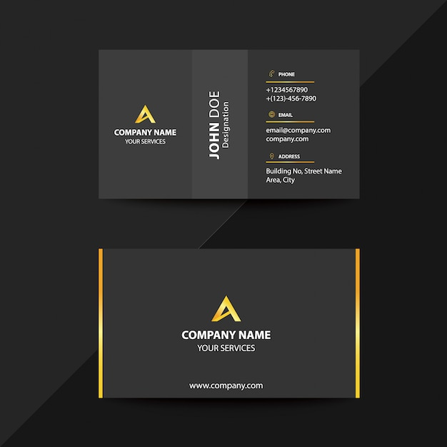 Saubere Flat Design Schwarz Und Gold Premium Corporate