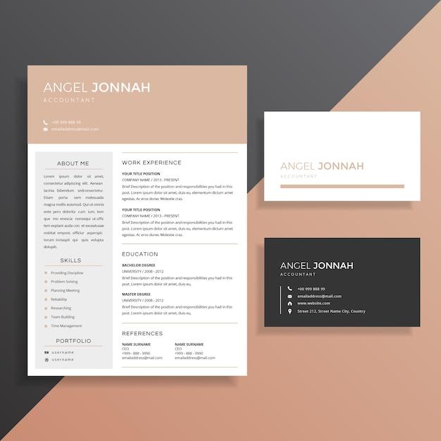 Saubere professionelle Lebenslauf CV mit Visitenkartenvorlage Design ...