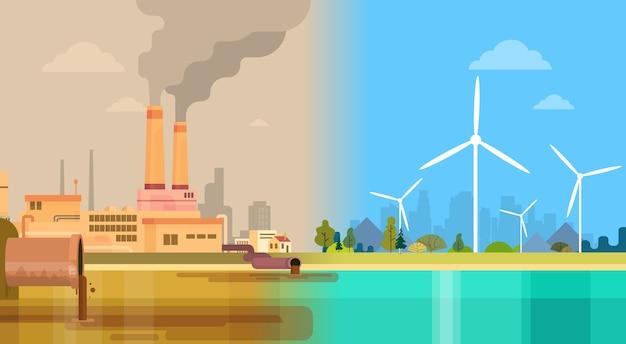 Saubere und verschmutzte schmutzige stadt umweltgrüne energie Premium Vektoren