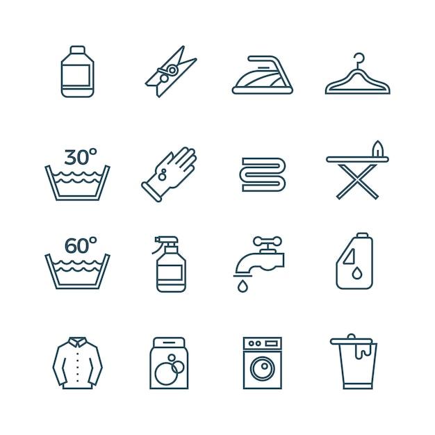 Saubere wäsche und trockner linie symbole Premium Vektoren