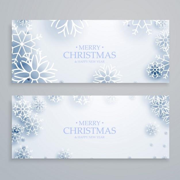 saubere wei e frohe weihnachten banner mit schneeflocken. Black Bedroom Furniture Sets. Home Design Ideas