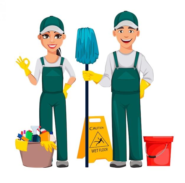 Sauberer mann und sauberere frau Premium Vektoren