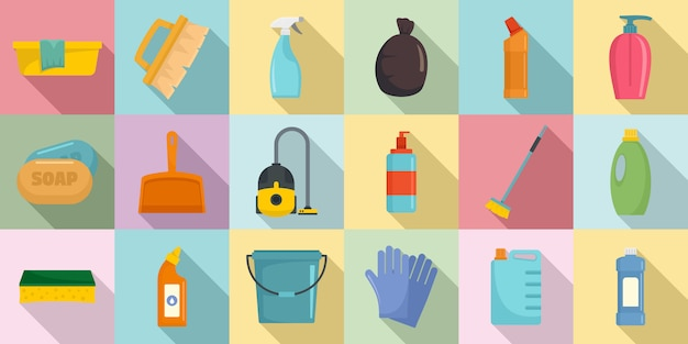 Sauberere ausrüstungsikonen eingestellt Premium Vektoren