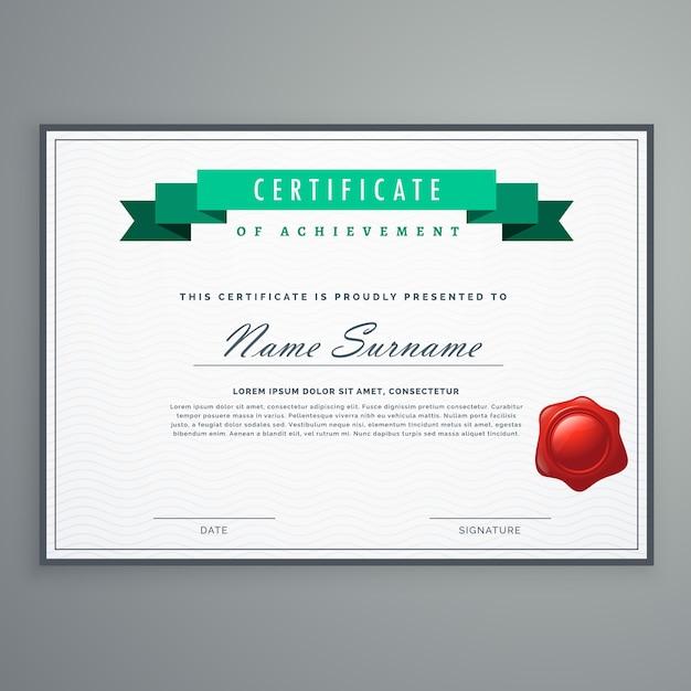 Sauberes Zertifikat Design Vorlage Auszeichnung Diplom Hintergrund ...